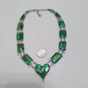 Iridescent green heart choker necklace